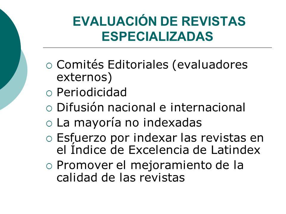 EVALUACIÓN DE REVISTAS ESPECIALIZADAS Comités Editoriales (evaluadores externos) Periodicidad Difusión nacional e internacional La mayoría no indexadas Esfuerzo por indexar las revistas en el Índice de Excelencia de Latindex Promover el mejoramiento de la calidad de las revistas