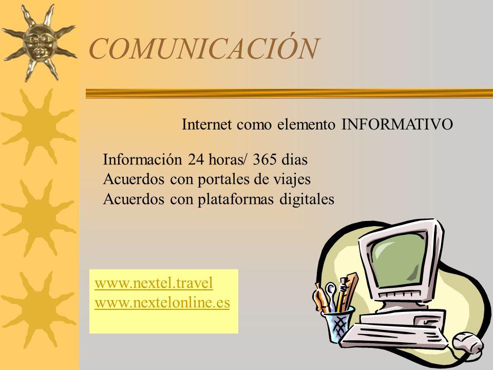 COMUNICACIÓN SERVICIOS WEB www.nextelonline.eswww.nextelonline.es - extranet reservas consultas e-factura www.nextel.travelwww.nextel.travel – informativa Ampliación del folleto Google maps Google Earth Via michelín Envío de logos,etc…