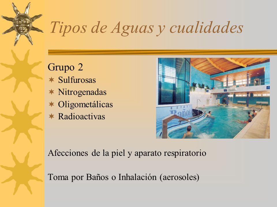Tipos de Aguas y cualidades Grupo 3 Sulfatadas Magnésicas Problemas Óseos, articulares, ginecológicos Toma por Baños (inmersión - contacto)