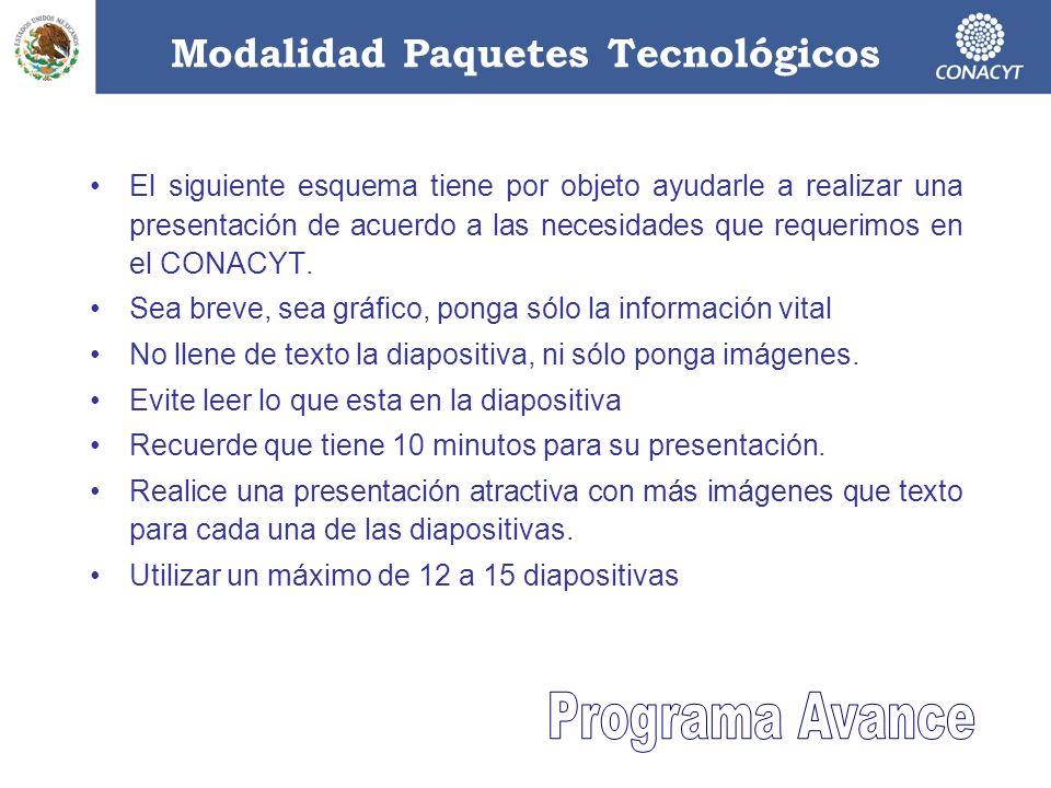 Modalidad Paquetes Tecnológicos El siguiente esquema tiene por objeto ayudarle a realizar una presentación de acuerdo a las necesidades que requerimos