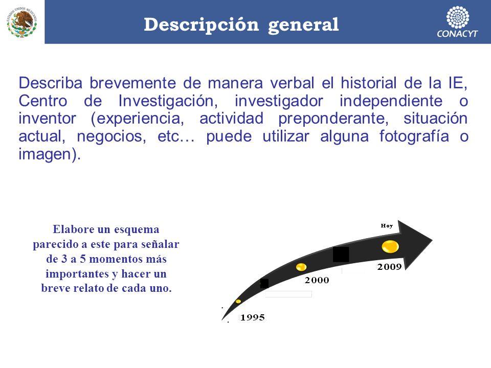 Descripción general Describa brevemente de manera verbal el historial de la IE, Centro de Investigación, investigador independiente o inventor (experi