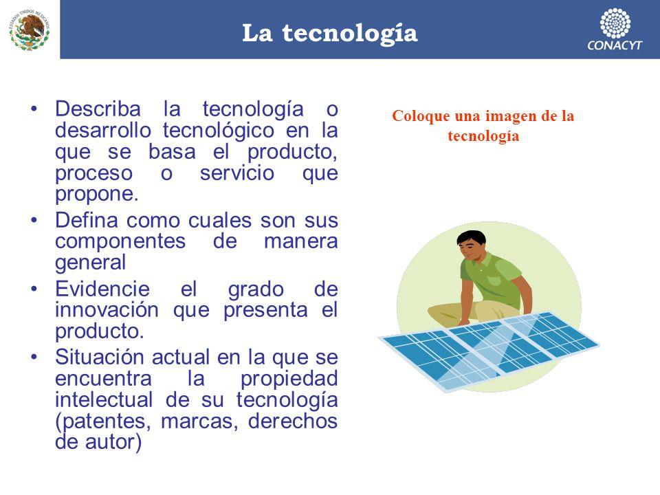 La tecnología Describa la tecnología o desarrollo tecnológico en la que se basa el producto, proceso o servicio que propone. Defina como cuales son su