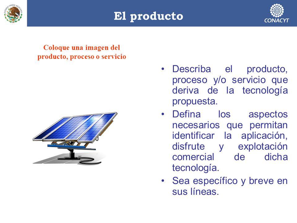 El producto Describa el producto, proceso y/o servicio que deriva de la tecnología propuesta. Defina los aspectos necesarios que permitan identificar