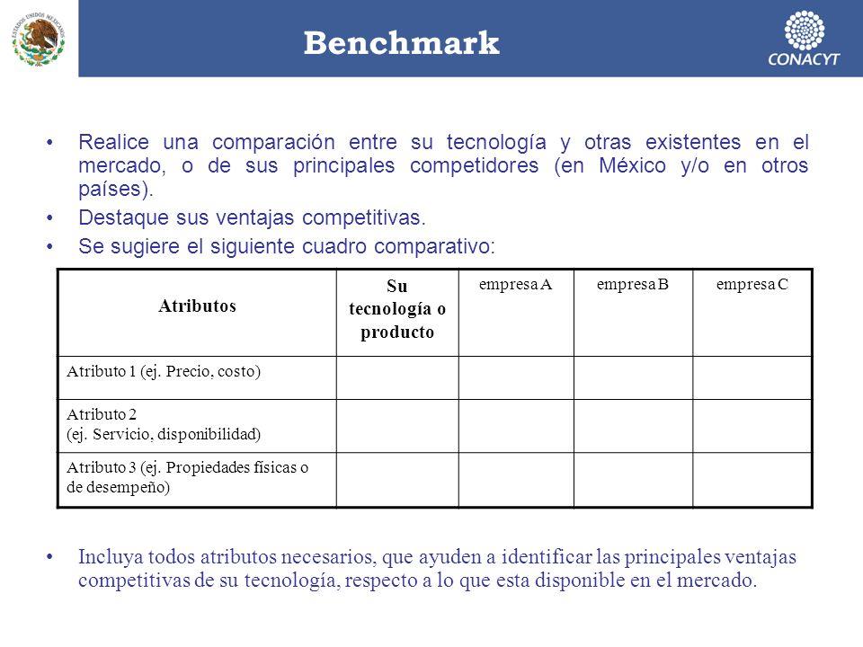 Benchmark Realice una comparación entre su tecnología y otras existentes en el mercado, o de sus principales competidores (en México y/o en otros país
