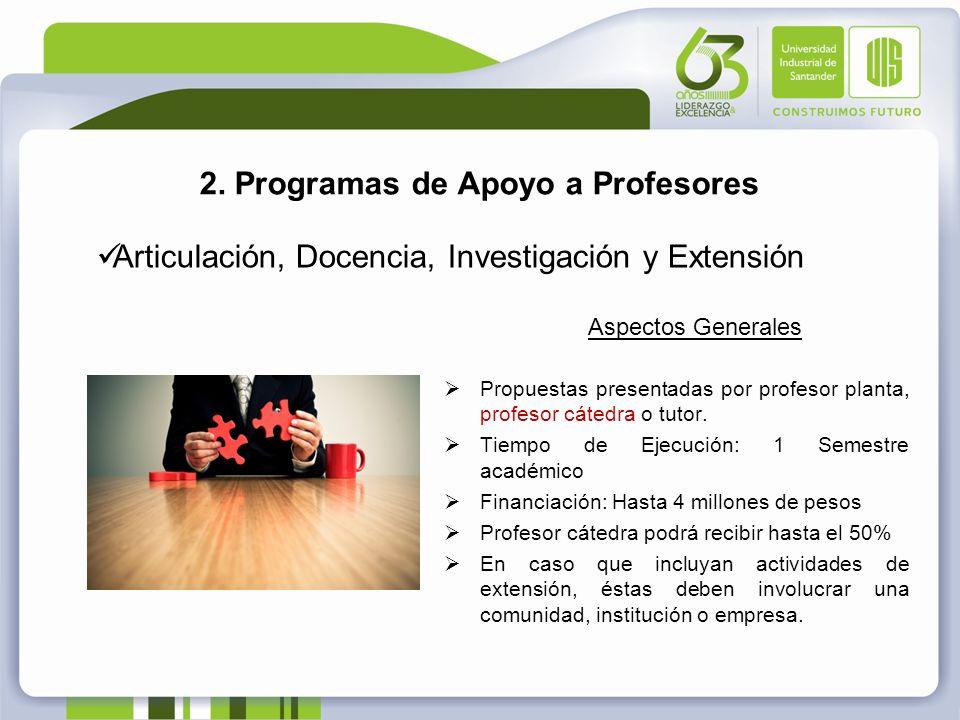 2. Programas de Apoyo a Profesores Articulación, Docencia, Investigación y Extensión Aspectos Generales Propuestas presentadas por profesor planta, pr