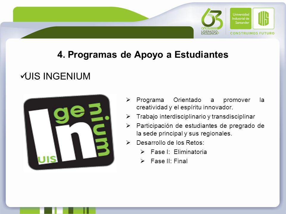 4. Programas de Apoyo a Estudiantes UIS INGENIUM Programa Orientado a promover la creatividad y el espíritu innovador. Trabajo interdisciplinario y tr
