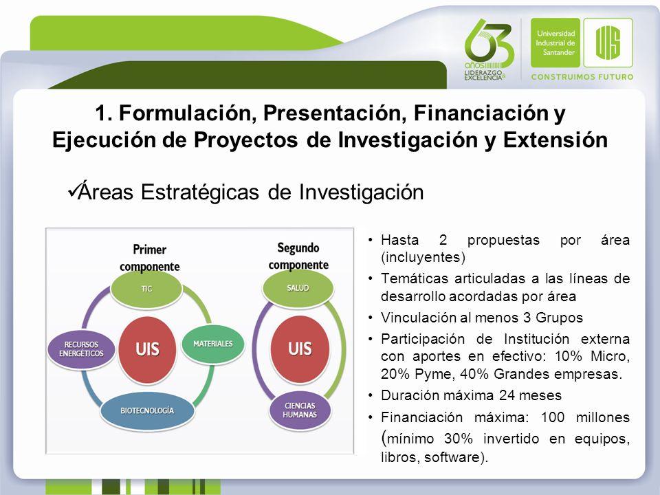1. Formulación, Presentación, Financiación y Ejecución de Proyectos de Investigación y Extensión Áreas Estratégicas de Investigación Hasta 2 propuesta