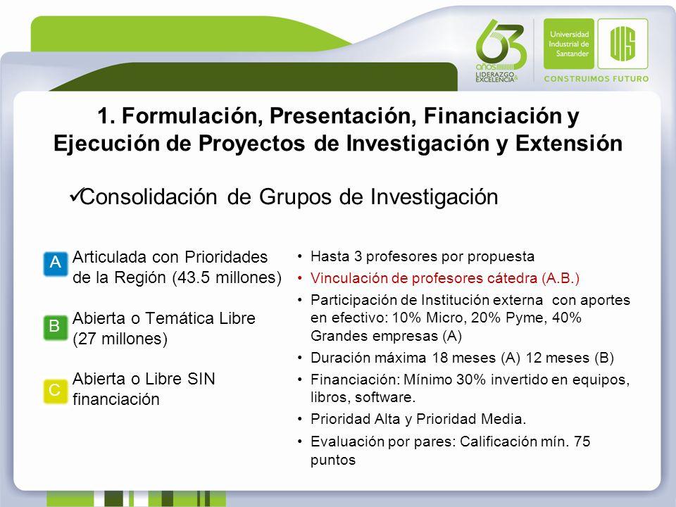 1. Formulación, Presentación, Financiación y Ejecución de Proyectos de Investigación y Extensión Consolidación de Grupos de Investigación Hasta 3 prof