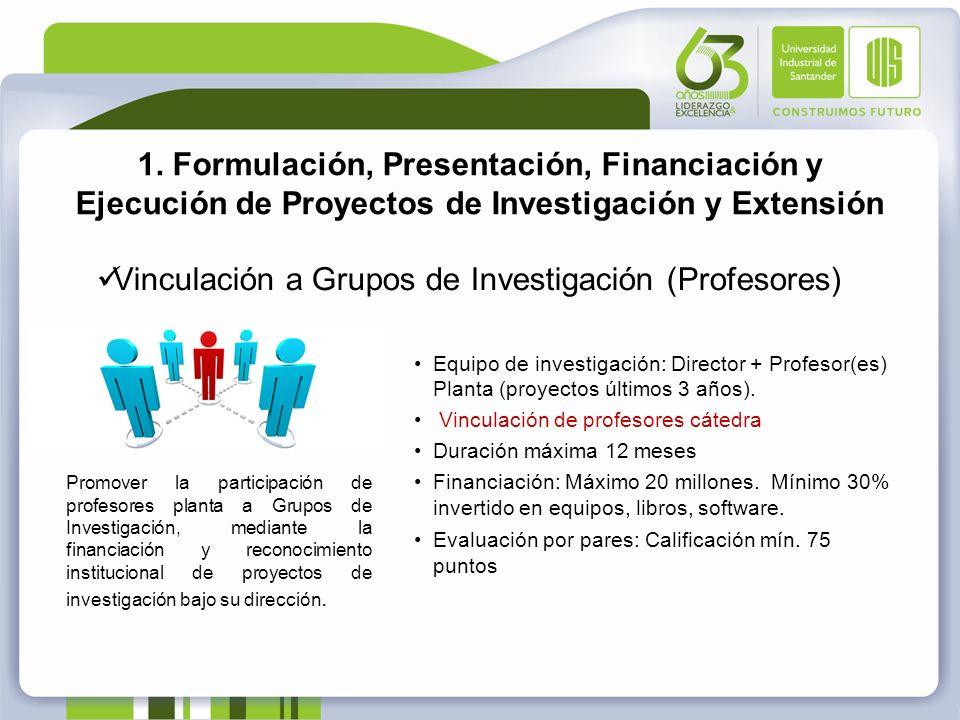 1. Formulación, Presentación, Financiación y Ejecución de Proyectos de Investigación y Extensión Vinculación a Grupos de Investigación (Profesores) Eq