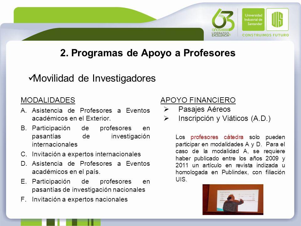2. Programas de Apoyo a Profesores Movilidad de Investigadores APOYO FINANCIERO Pasajes Aéreos Inscripción y Viáticos (A.D.) Los profesores cátedra so