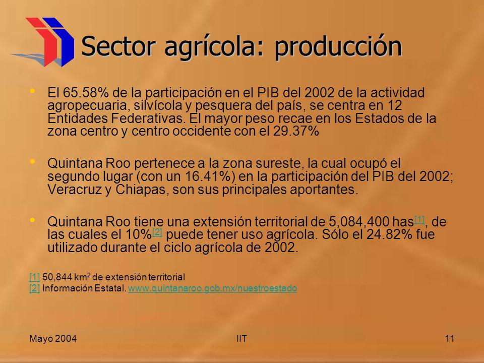 Mayo 2004IIT11 Sector agrícola: producción El 65.58% de la participación en el PIB del 2002 de la actividad agropecuaria, silvícola y pesquera del país, se centra en 12 Entidades Federativas.