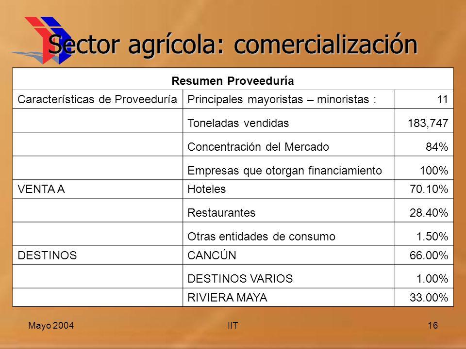 Mayo 2004IIT16 Sector agrícola: comercialización Resumen Proveeduría Características de ProveeduríaPrincipales mayoristas – minoristas :11 Toneladas vendidas183,747 Concentración del Mercado84% Empresas que otorgan financiamiento100% VENTA AHoteles70.10% Restaurantes28.40% Otras entidades de consumo1.50% DESTINOSCANCÚN66.00% DESTINOS VARIOS1.00% RIVIERA MAYA33.00%