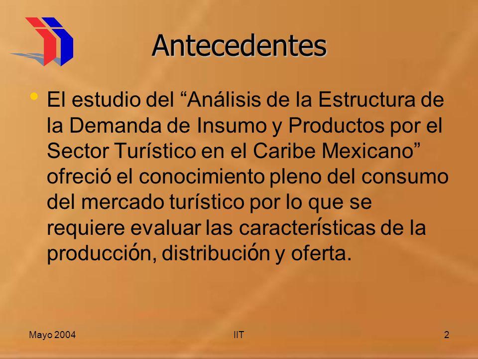 Mayo 2004IIT2 Antecedentes El estudio del Análisis de la Estructura de la Demanda de Insumo y Productos por el Sector Turístico en el Caribe Mexicano