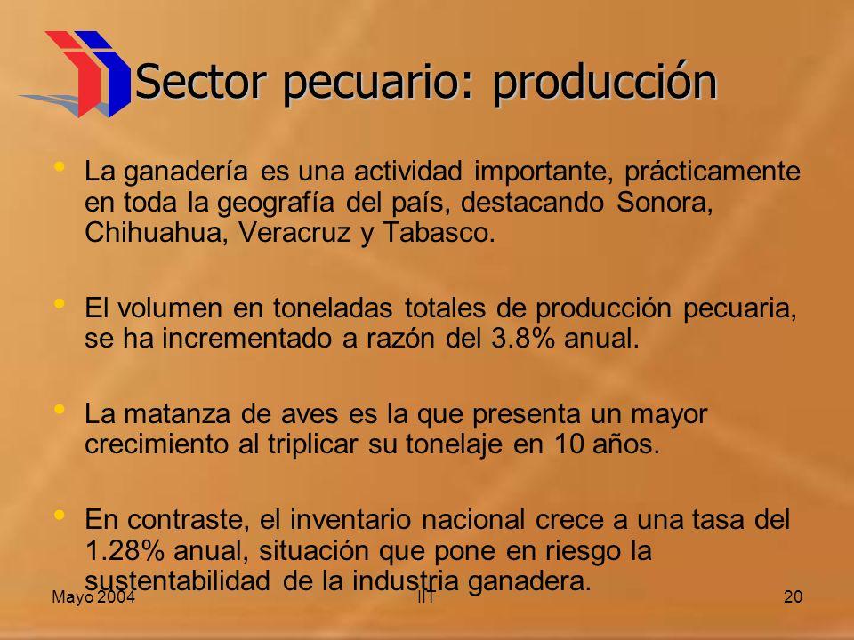 Mayo 2004IIT20 Sector pecuario: producción La ganadería es una actividad importante, prácticamente en toda la geografía del país, destacando Sonora, Chihuahua, Veracruz y Tabasco.