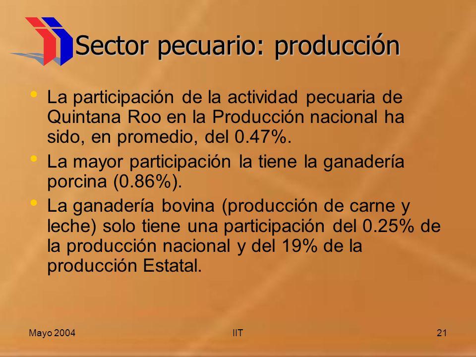 Mayo 2004IIT21 Sector pecuario: producción La participación de la actividad pecuaria de Quintana Roo en la Producción nacional ha sido, en promedio, del 0.47%.