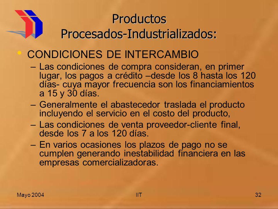 Mayo 2004IIT32 Productos Procesados-Industrializados: CONDICIONES DE INTERCAMBIO –Las condiciones de compra consideran, en primer lugar, los pagos a crédito –desde los 8 hasta los 120 días- cuya mayor frecuencia son los financiamientos a 15 y 30 días.