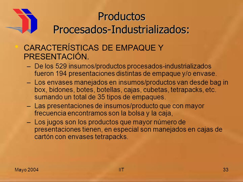 Mayo 2004IIT33 Productos Procesados-Industrializados: CARACTERÍSTICAS DE EMPAQUE Y PRESENTACIÓN. –De los 529 insumos/productos procesados-industrializ