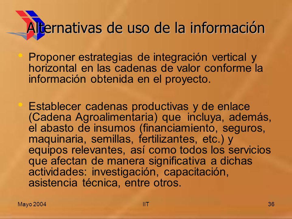 Mayo 2004IIT36 Alternativas de uso de la información Proponer estrategias de integración vertical y horizontal en las cadenas de valor conforme la información obtenida en el proyecto.