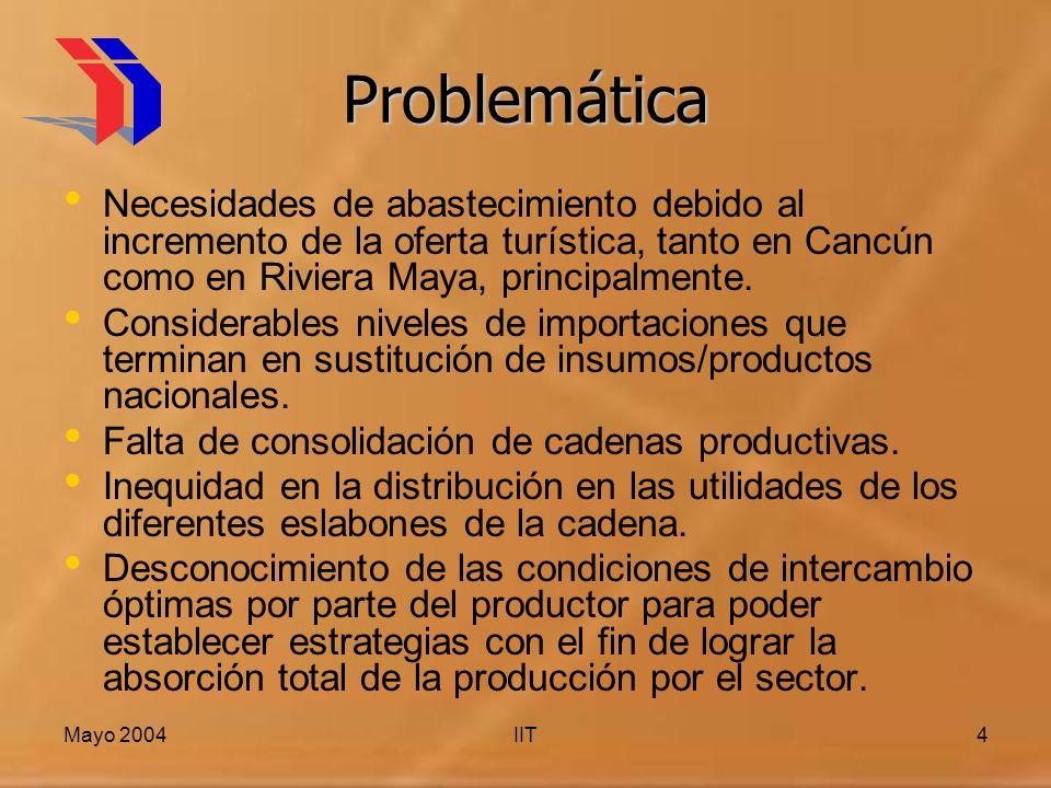 Mayo 2004IIT4 Problemática Necesidades de abastecimiento debido al incremento de la oferta turística, tanto en Cancún como en Riviera Maya, principalmente.