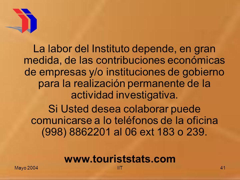 Mayo 2004IIT41 La labor del Instituto depende, en gran medida, de las contribuciones económicas de empresas y/o instituciones de gobierno para la realización permanente de la actividad investigativa.