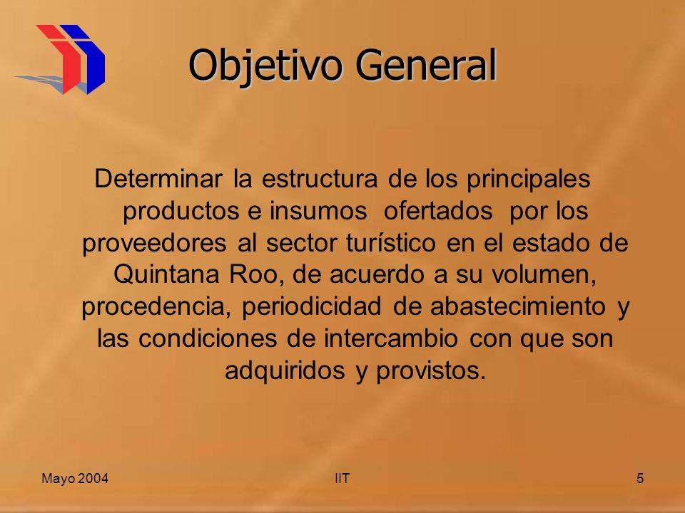 Mayo 2004IIT5 Objetivo General Determinar la estructura de los principales productos e insumos ofertados por los proveedores al sector turístico en el estado de Quintana Roo, de acuerdo a su volumen, procedencia, periodicidad de abastecimiento y las condiciones de intercambio con que son adquiridos y provistos.