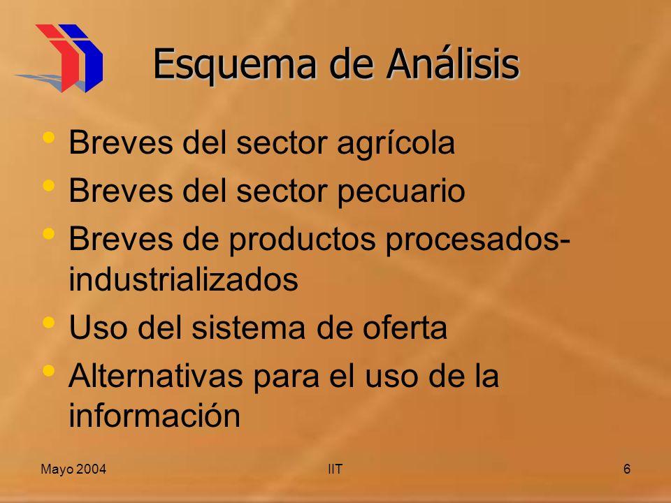 Mayo 2004IIT6 Esquema de Análisis Breves del sector agrícola Breves del sector pecuario Breves de productos procesados- industrializados Uso del sistema de oferta Alternativas para el uso de la información