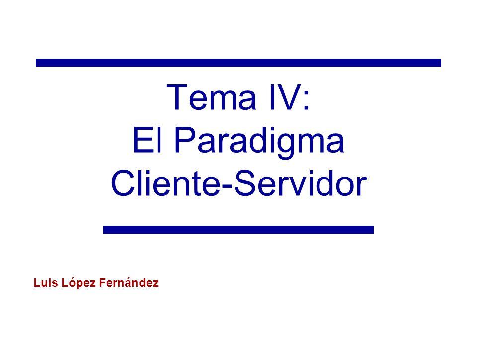 Tema IV: El paradigma Cliente-Servidor Esqueleto en código de un servidor multihilo (pool) import java.util.concurrent.ExecutorService; import java.util.concurrent.Executors; import … public class PooledServer { private static final int NUM_THREADS_IN_POOL = 20; public static void main(String[] args) { new PooledServer().launchServer(Integer.parseInt(args[0])); } private ServerSocket serverSocket; private ExecutorService pool; private void launchServer(int serverPort) { pool = Executors.newFixedThreadPool(NUM_THREADS_IN_POOL); while(true){ try{ Socket connection = serverSocket.accept(); Handler requestProcessor = new Handler(connection); pool.execute(requestProcessor); } catch (IOException ioe){ pool.shutdown(); }