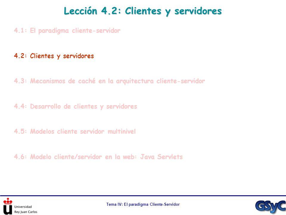 Tema IV: El paradigma Cliente-Servidor Lección 4.2: Clientes y servidores 4.1: El paradigma cliente-servidor 4.2: Clientes y servidores 4.3: Mecanismo