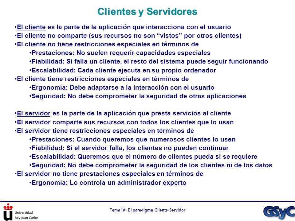 Tema IV: El paradigma Cliente-Servidor El cliente es la parte de la aplicación que interacciona con el usuario El cliente no comparte (sus recursos no