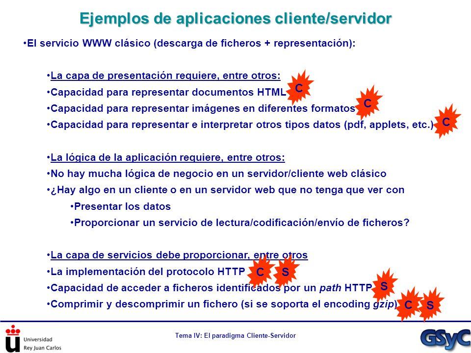 Tema IV: El paradigma Cliente-Servidor El servicio WWW clásico (descarga de ficheros + representación): La capa de presentación requiere, entre otros:
