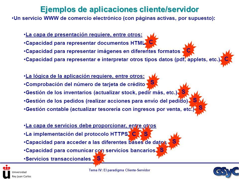 Tema IV: El paradigma Cliente-Servidor Un servicio WWW de comercio electrónico (con páginas activas, por supuesto): La capa de presentación requiere,