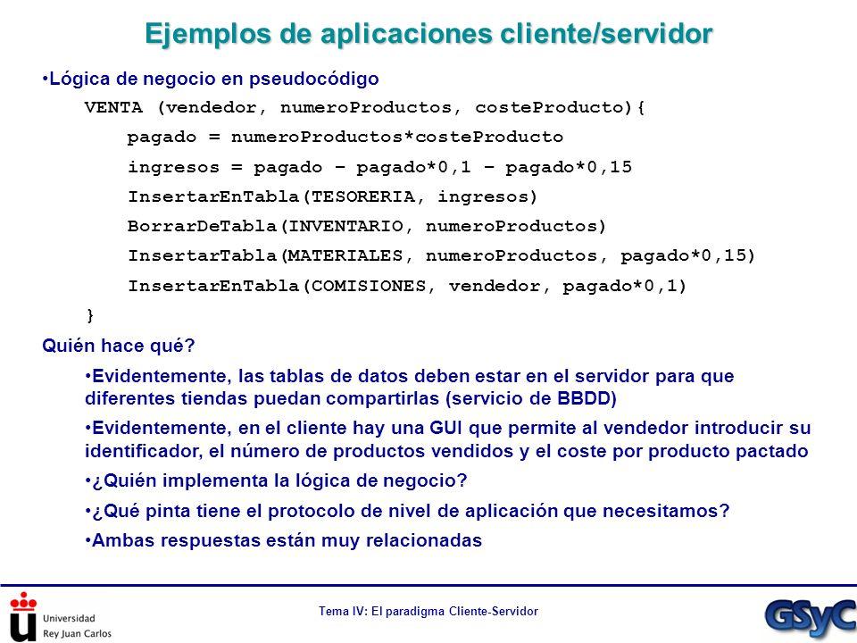 Tema IV: El paradigma Cliente-Servidor Lógica de negocio en pseudocódigo VENTA (vendedor, numeroProductos, costeProducto){ pagado = numeroProductos*co