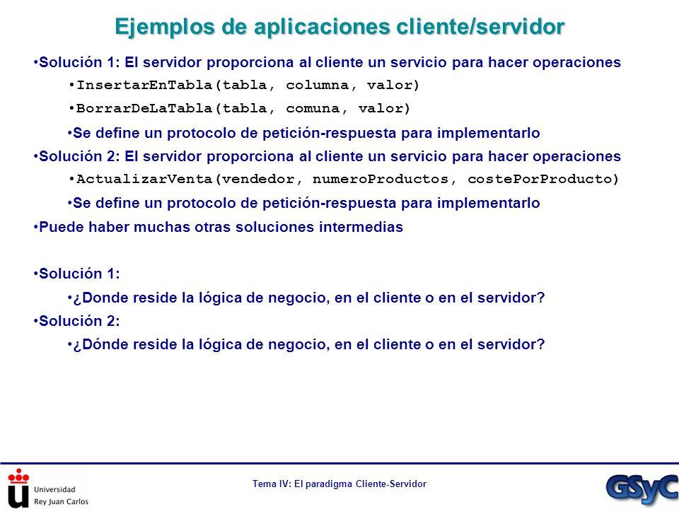 Tema IV: El paradigma Cliente-Servidor Solución 1: El servidor proporciona al cliente un servicio para hacer operaciones InsertarEnTabla(tabla, column