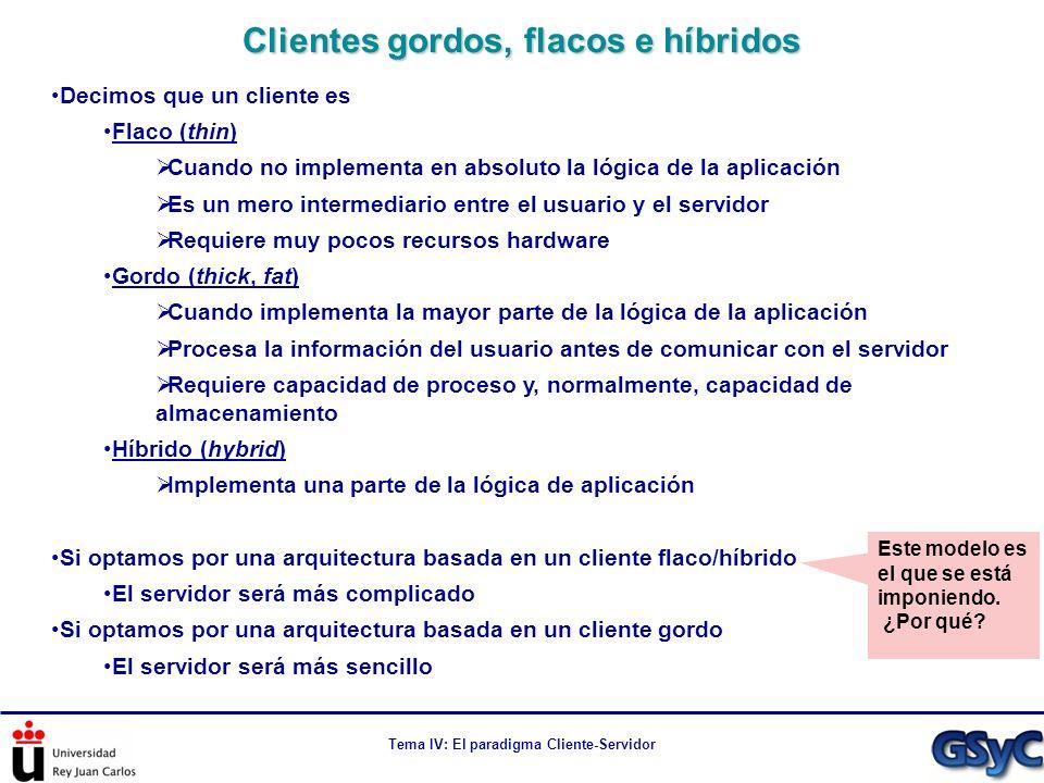 Tema IV: El paradigma Cliente-Servidor Decimos que un cliente es Flaco (thin) Cuando no implementa en absoluto la lógica de la aplicación Es un mero i