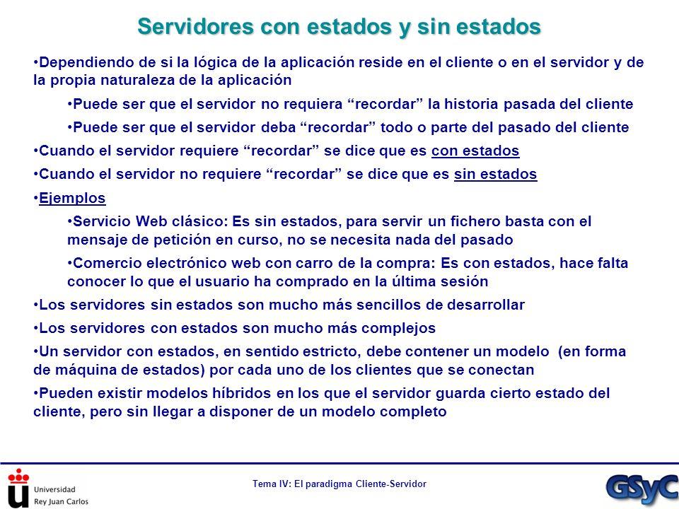 Tema IV: El paradigma Cliente-Servidor Dependiendo de si la lógica de la aplicación reside en el cliente o en el servidor y de la propia naturaleza de