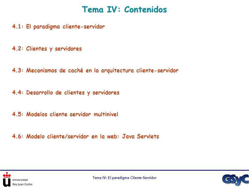 Tema IV: El paradigma Cliente-Servidor Tema IV: Contenidos 4.1: El paradigma cliente-servidor 4.2: Clientes y servidores 4.3: Mecanismos de caché en l