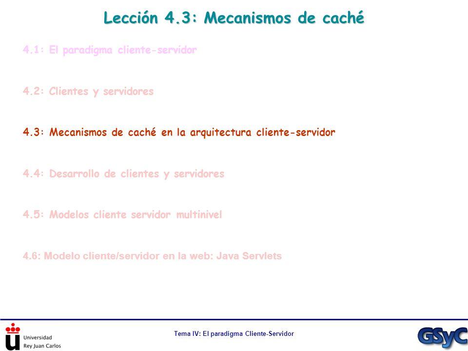Tema IV: El paradigma Cliente-Servidor Lección 4.3: Mecanismos de caché 4.1: El paradigma cliente-servidor 4.2: Clientes y servidores 4.3: Mecanismos