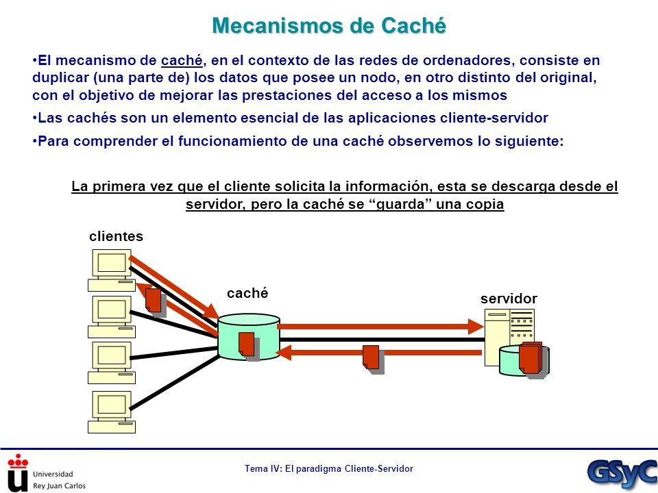 Tema IV: El paradigma Cliente-Servidor El mecanismo de caché, en el contexto de las redes de ordenadores, consiste en duplicar (una parte de) los dato