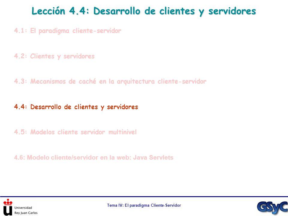 Tema IV: El paradigma Cliente-Servidor Lección 4.4: Desarrollo de clientes y servidores 4.1: El paradigma cliente-servidor 4.2: Clientes y servidores
