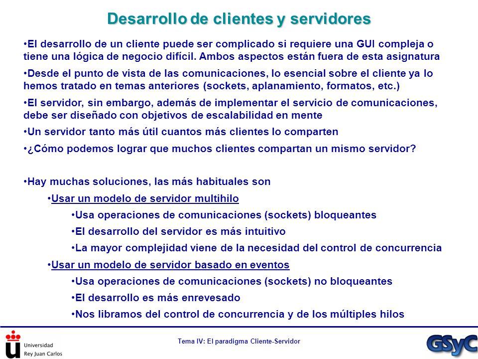 Tema IV: El paradigma Cliente-Servidor El desarrollo de un cliente puede ser complicado si requiere una GUI compleja o tiene una lógica de negocio dif