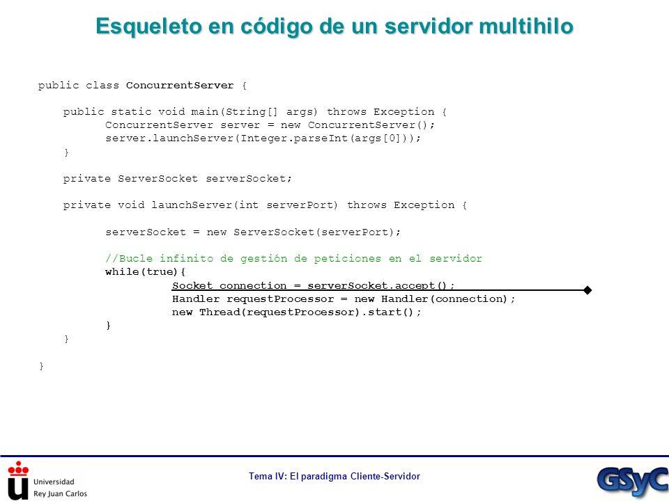 Tema IV: El paradigma Cliente-Servidor Esqueleto en código de un servidor multihilo public class ConcurrentServer { public static void main(String[] a