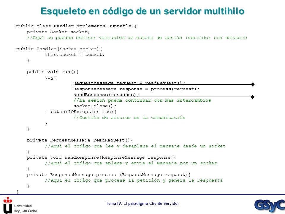 Tema IV: El paradigma Cliente-Servidor Esqueleto en código de un servidor multihilo public class Handler implements Runnable { private Socket socket;