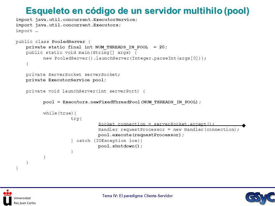 Tema IV: El paradigma Cliente-Servidor Esqueleto en código de un servidor multihilo (pool) import java.util.concurrent.ExecutorService; import java.ut