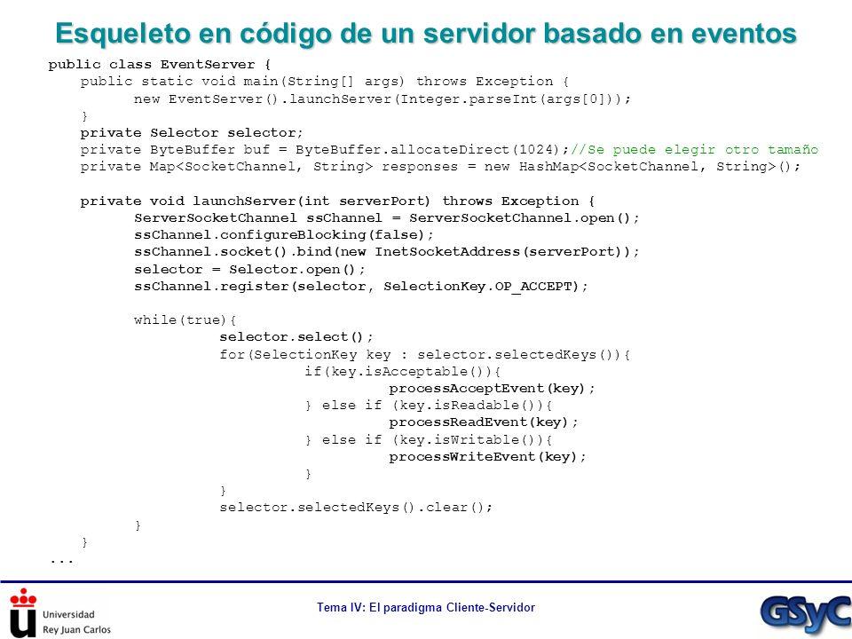 Tema IV: El paradigma Cliente-Servidor Esqueleto en código de un servidor basado en eventos public class EventServer { public static void main(String[