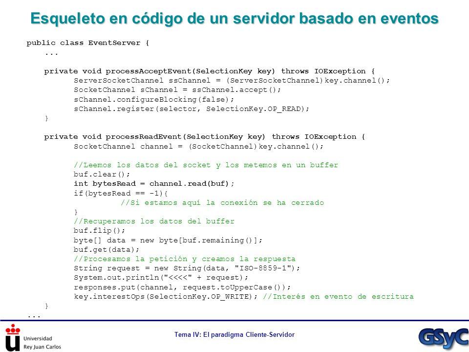 Tema IV: El paradigma Cliente-Servidor Esqueleto en código de un servidor basado en eventos public class EventServer {... private void processAcceptEv