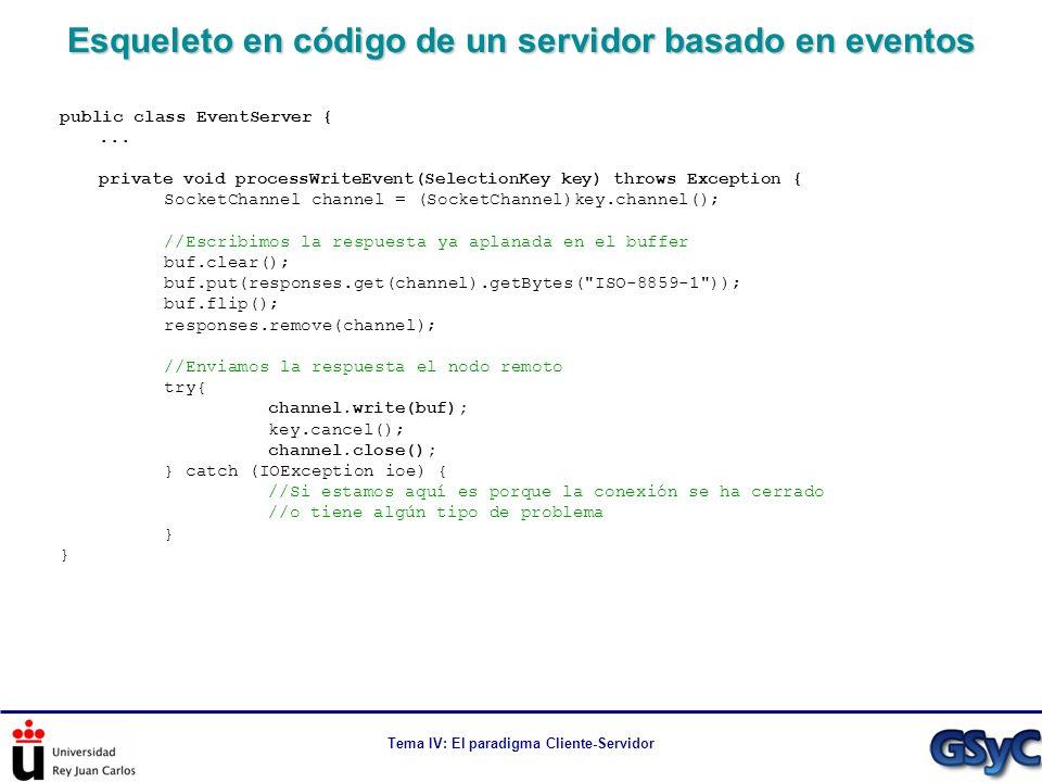 Tema IV: El paradigma Cliente-Servidor Esqueleto en código de un servidor basado en eventos public class EventServer {... private void processWriteEve