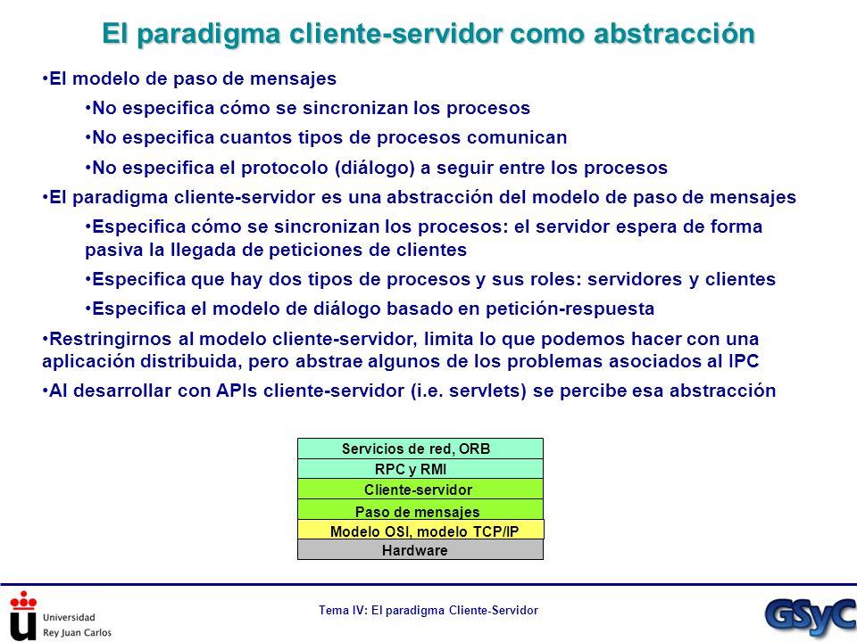 Tema IV: El paradigma Cliente-Servidor Esqueleto en código de un servidor iterativo public class IterativeServer { public static void main(String[] args) throws IOException { new IterativeServer().launchServer(2345); } private void launchServer(int serverPort) throws IOException { ServerSocket serverSocket = new ServerSocket(serverPort); while(true){ Socket socket = serverSocket.accept(); RequestMessage request = readRequest(socket); ResponseMessage response = process(request); sendResponse(socket, response); //...