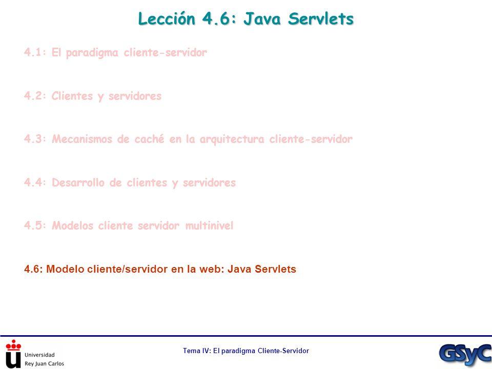 Tema IV: El paradigma Cliente-Servidor Lección 4.6: Java Servlets 4.1: El paradigma cliente-servidor 4.2: Clientes y servidores 4.3: Mecanismos de cac