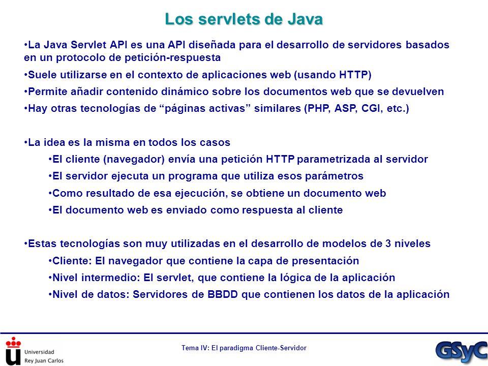 Tema IV: El paradigma Cliente-Servidor La Java Servlet API es una API diseñada para el desarrollo de servidores basados en un protocolo de petición-re