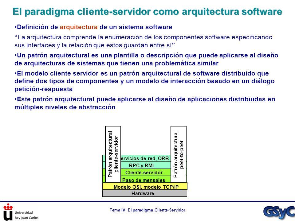 Tema IV: El paradigma Cliente-Servidor Mejora en términos de latencia Escenario: t1 = Latencia cliente-caché, t2 = Latencia caché-servidor Descarga de servidor (proceso inmediato): TServ = t1 + t2 + t2 + t1 = 2(t1+t2) Descarga de caché (proceso inmediato): TCache = t1 + t1 = 2t1 La descarga desde la caché siempre tiene latencia de comunicación menor Mejora en términos de ancho de banda/tiempo de servicio Escenario: Fichero de 1G, 100 clientes que comparten la misma caché Sin caché: el servidor proporciona 100G bytes de datos a través de su línea Con caché: el servidor proporciona 1G byte de datos a través de su línea Mejora en términos de escalabilidad Parte del trabajo del servidor la hace la caché: el servidor soporta más clientes En general, la presencia de un sistema de caché permite que el cliente tenga la respuesta a sus peticiones de manera mucho más rápida ¿Por qué la caché mejora la eficiencia?
